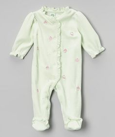 Take a look at this Mint Cupcake Velour Footie - Infant by Little Me on #zulily today! $13.99