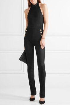Balmain - Ribbed Stretch-knit Halterneck Jumpsuit - Black - FR42