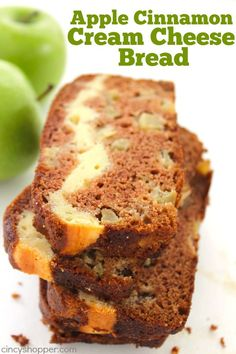 Apple Cinnamon Cream Cheese Bread -Yes, this yummy quick bread is stuffed with a yummy cream cheese layer that blends so well with the apples and cinnamon.