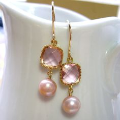 Rose Pink Pearl Drop Earrings!!