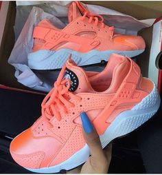 newest 2a75c 9c4eb Bright orange Nike Air Huarache sneakers are a stylish, comfy  fashionable  summer trainer perfect for for complimenting any Nike outfit.