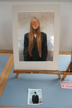 Staged photo with painted background - photo parafrase of 'The Son of Man' by Magritte; student, 8th grade, Rørvig Friskole