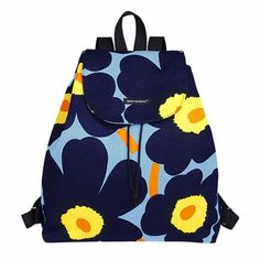 Marimekko Perenna Blue/Yellow Unikko Backpack for kids who appreciates Nordic style.