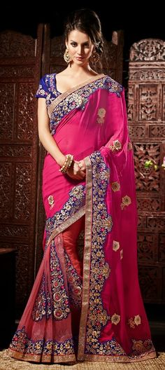 118794, Party Wear Sarees, Embroidered Sarees, Net, Machine Embroidery, Resham, Patch, Zari, Thread, Lace, Pink and Majenta Color Family