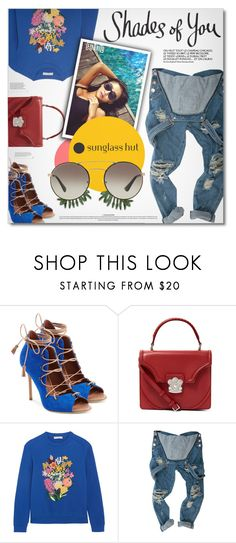 """""""Shades of You: Sunglass Hut Contest Entry"""" by defivirda ❤ liked on Polyvore featuring Malone Souliers, Alexander McQueen, Mary Katrantzou and Prada"""