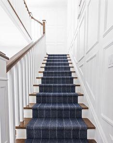Blue Stripe Traditional Stair Runner