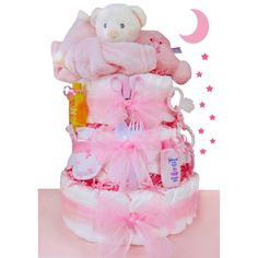 Sleepy Bear 3 Tier Diaper Cake - Girl, Ivory