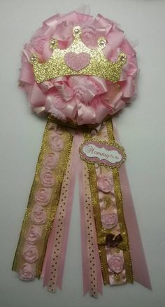 Check out this item in my Etsy shop https://www.etsy.com/listing/220188488/pink-and-gold-mommy-to-be-corsage