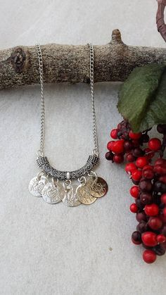 New Year's Eve Gift, Ethnic Silver Tone Necklace, Bohemian Coin Necklace, Unique Jewelry by Lycidasjewelry on Etsy