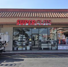 This is the storefront of a Supercuts in Toluca Lake, CA that we made and installed this channel letter sign for. Due to the limited amount of space on the facade, we installed the channel letters onto a raceway first, and installed the whole raceway at the location. These are front-lit channel letters and the faces are made from red acrylic so at night time the front of the letters are illuminated. #signage #storefront #signs