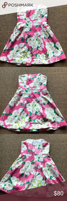 Lilly Pulitzer Floral Sun Dress WORN ONCE! Cute pink, green and white strapless sundress. Adorable floral pattern. Has deep pockets perfect to hold your phone/money. Size 4. Excellent condition. Lilly Pulitzer Dresses Strapless