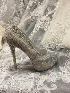 Wedding Bridal  Shoes Hand Made Rhinestones by Elfinacreation
