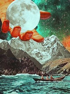 Sailing For The Moon. Surreal Mixed Media Collage Art By Ayham Jabr.
