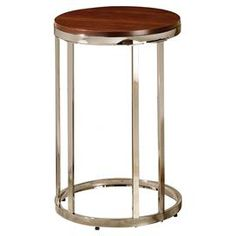End table with an open silhouette and natural finished top. Product: End tableConstruction Material: Wood and metalColor: Brown and nickelDimensions: H x Diameter Furniture Upholstery, Furniture Decor, Make A Table, Wood And Metal, Decorating Tips, End Tables, Interior Design, House Styles, Home Decor