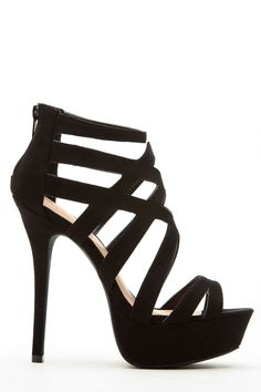 Black Faux Suede Cross Strap Platform Heels @ Cicihot Heel Shoes online store sales:Stiletto Heel Shoes,High Heel Pumps,Womens High Heel Shoes,Prom Shoes,Summer Shoes,Spring Shoes,Spool Heel,Womens Dress Shoes