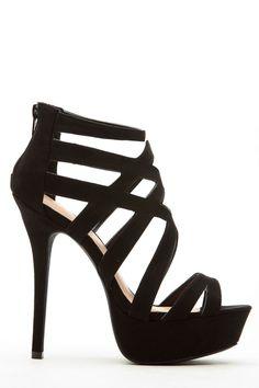 Black Faux Suede Cross Strap Platform Heels @ Cicihot Heel Shoes online store sales:Stiletto Heel Shoes,High Heel Pumps,Womens High Heel Shoes,Prom Shoes,Summer Shoes,Spring Shoes,Spool Heel,Womens Dress Shoes
