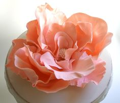 Edible Sugar Rose LARGE Open Rose with Edible Pearl Setting. CUSTOM COLOR by Andies Specialty Sweets