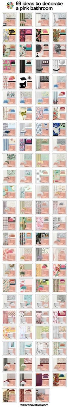 We did it! We created 99 mood boards, each with a different design to decorate a pink bathroom.