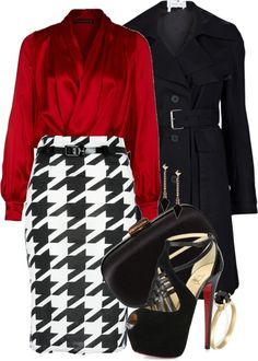 Falda con blusa roja