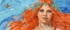 ORIGINAL PAINTING 8x16 framed THE SNAKE TATTOO Redhead Woman w Butterflies Art Paintings, Original Paintings, Snake Tattoo, Native Americans, Gouache, Nativity, Butterflies, Watercolor, Woman