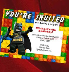 Lego Birthday Invitation Lego Movie Lego Batman by HappyBarnGifts
