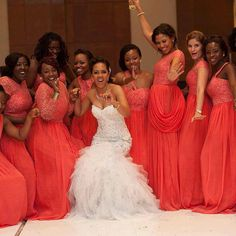 Coral bridesmaids dresses photo by: Capture- your memory bank, Ghana https://www.facebook.com/capturegh?directed_target_id=0