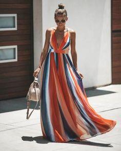 Shades Of Summer Maxi Dress - summer dress outfits - Wedding Summer Summer Dress Outfits, Long Summer Dresses, Casual Dresses, Fashion Dresses, Summer Maxi Dresses, Maxi Outfits, Striped Maxi Dresses, Maxi Skirts, Navy Dress