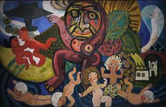 The War Mother by Danish Henry Heerup (1943). Danish Herrup had an interest in ancient or surviving forms of folk art and a deep love for the mythical characterized the work