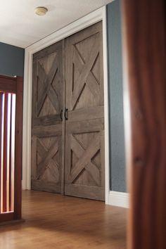 Wooden Barn Door. Unique Handmade Interior Rustic Doors