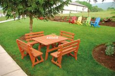 Gather for food and fun at the Amish Pine Wood 43 Square Table with 4 Backed Benches from DutchCrafters. Pine wood makes for attractive outdoor furniture at a Outdoor Living Furniture, Pine Furniture, Amish Furniture, Dining Furniture, Garden Furniture, Painted Picnic Tables, Outdoor Dining Set, Outdoor Decor, Square Tables