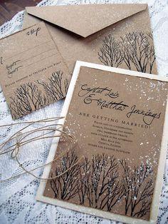 snow branches winter wedding invitations