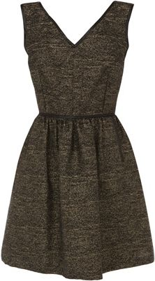 Warehouse Metallic V neck dress