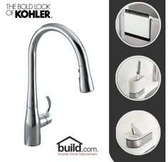View the Kohler Kitchen Update Includes Simplice Pullout Spray Faucet and Reset Accessories (Soap Dish, Sink Caddy, and Squeegee) at Build.com.