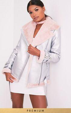 Liane Metallic Silver Premium Faux Fur Lined Aviator Jacket Image 1
