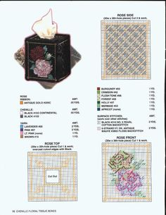 Chenille Floral Tissue Boxes Pg 10 Plastic Canvas Tissue Boxes, Plastic Canvas Patterns, Kleenex Box, Box Patterns, Canvas Board, Tissue Box Covers, Sorting, Needlepoint, Free Pattern