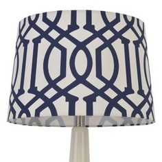 Threshold Trellis Print Modified Drum Lamp Shade Nighttime Blue