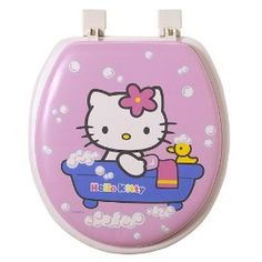 it's a toilet seat. They have toilet paper in this world with Hello Kitty on it. Funny Toilet Seats, Hello Kitty Online, Hello Kitty Bathroom, Hello Kitty Gifts, Hello Kitty Merchandise, Minimalist Bathroom Design, Hello Kitty Collection, Cat Character, Cat Crafts