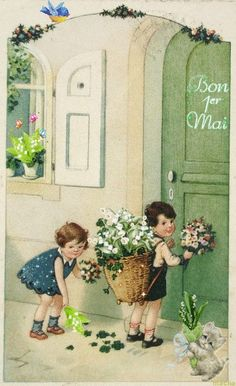 May Baskets, Making Baskets, May Day Traditions, Hiding In The Bushes, 1. Mai, Nostalgic Art, Happy May, Cicely Mary Barker, Photo Vintage