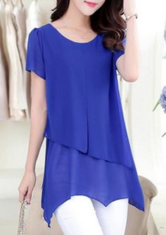 Royal Blue Asymmetric Short Sleeve Tiered Chiffon Blouse at rosewe.com, check it out.