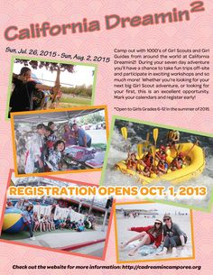 Join girls from around the world at California Dreamin' 2015, an international Girl Scout camporee July 26-Aug. 2, 2015, at the Alameda County Fairgrounds in Pleasanton. http://www.cadreamincamporee.org