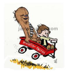 An adorable Star Wars/Calvin and Hobbes mash-up by James Hance