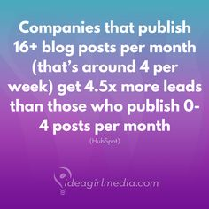 Ready to increase the content published on your blog?   Companies that publish 16+ blog posts per month (that's around 4 per week) get 4.5x more leads than those who publish 0-4...  4.5 TIMES MORE!!   (stat via HubSpot)