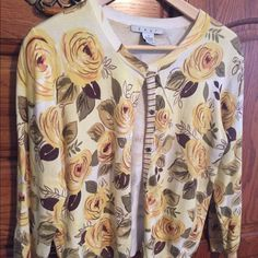CAbi yellow floral cardigan sweater NWOT Beautiful and perfect for spring! Material is cotton and spandex. Just perfect for the coming spring. Please note: I only accept offers through the offer feature. I do not EVER trade, and I'm excited to do business with you. ☺️ CAbi Sweaters Cardigans