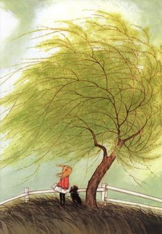 """Illustration from A Child's Book of Poems by Gyo Fujikawa: """"Who has seen the wind?/Neither you nor I:/But when the trees bow down their heads,/The wind is passing by.""""--Christina Rossetti, """"Who Has Seen the Wind? Art Magique, Book Of Poems, Poetry Books, Children's Books, Windy Day, Children's Book Illustration, Book Illustrations, Whimsical Art, Art Plastique"""