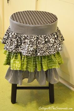 revamp an old stool by adding a ruffled stool cover