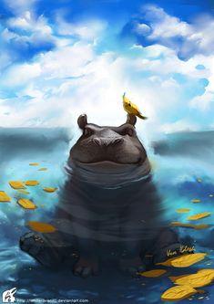 Happy Hippo by WhiteRaven90.deviantart.com on @DeviantArt