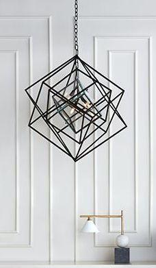 KELLY WEARSTLER | LARGE CUBIST CHANDELIER AND CLEO DESK LAMP