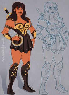 Xena's favorite battling bard, Gabrielle! Concept I whipped out to pair with this Xena. And again, style taken mostly from Disney's Hercules with some elements from the wonderful horror that is. Princess Art, Disney Princess, Mundo Superman, Character Art, Character Design, Character Concept, Armadura Cosplay, Estilo Disney, Xena Warrior Princess