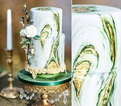 A spectacular green and gold agate wedding cake with ornate gold edible cake stand by Suzanne Thorpe of The Frostery (image by Jenny Heyworth Photography)