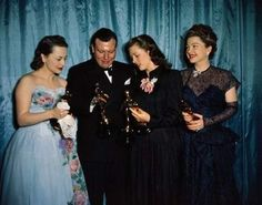 Oscar winners Olivia de Havilland (left in Anne Lowe), Cathy O'Donnell (middle -accepting for Fredric March-) and Anne Baxter (right). 1947